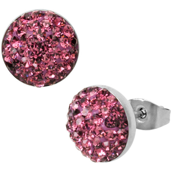 Inox Jewelry Amethyst CZ Paved 316L Stainless Steel Stud Earrings