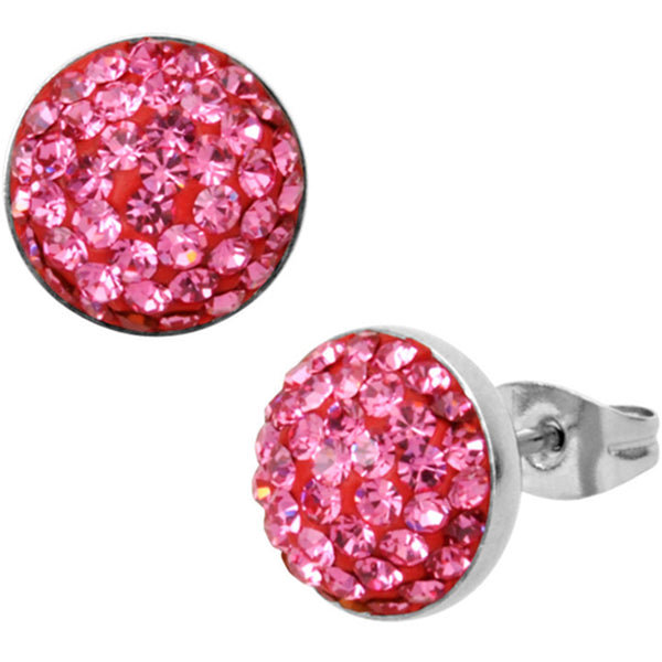 Inox Jewelry Pink CZ Paved 316L Stainless Steel Stud Earrings