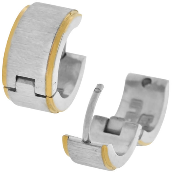 Inox Jewelry Thick Rough Finished and Gold PVD Stripe 316L Stainless Steel Huggy Earrings