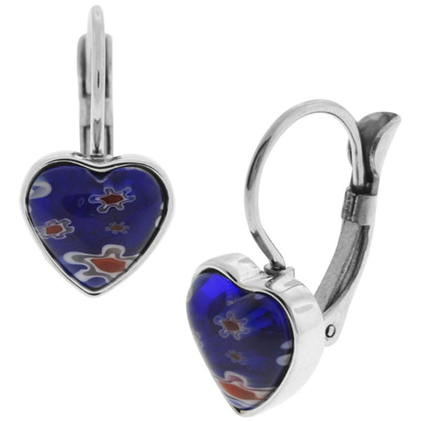Inox Jewelry Women's Murano Glass Heart 316L Stainless Steel Earrings