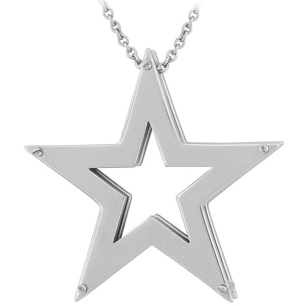 Inox Jewelry Women's Star Punch Out Pendant Necklace
