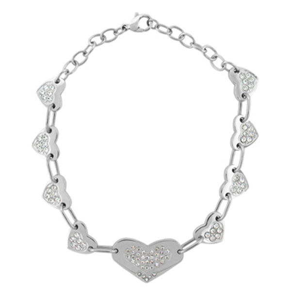 Inox Jewelry Women's Stainless Steel Multi Heart Bracelet with CZ's