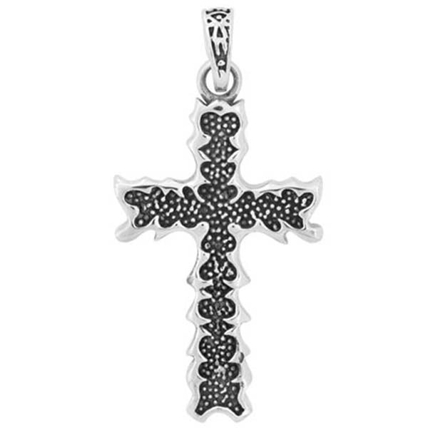 Inox Jewelry Leaf Edge Cross Pendant