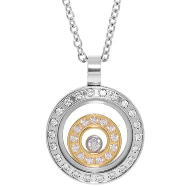 Inox Jewelry Women's Two Tone Encapsulated Gem Ring Pendant