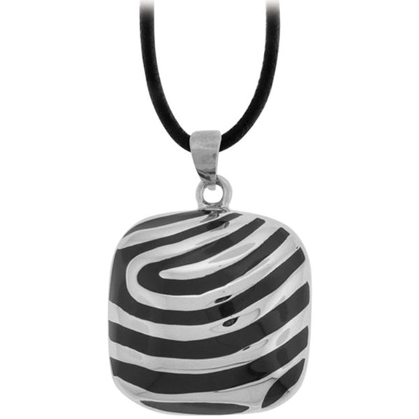 Inox Jewelry Women's Special Stripes Silver And Black Pendant