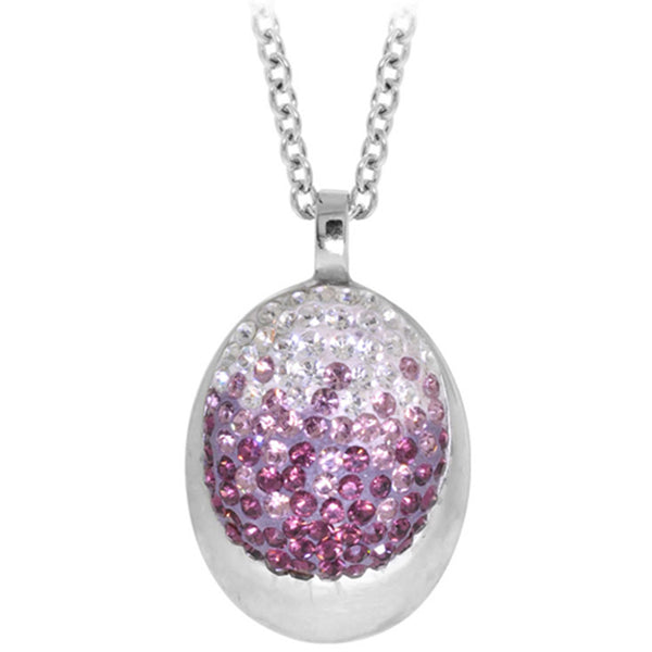 Inox Jewelry Women's Violet Sparkle Ellipse Pendant