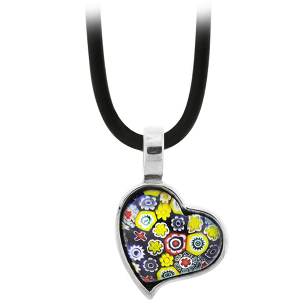 Inox Jewelry Women's Murano Glass Heart Abloom Pendant