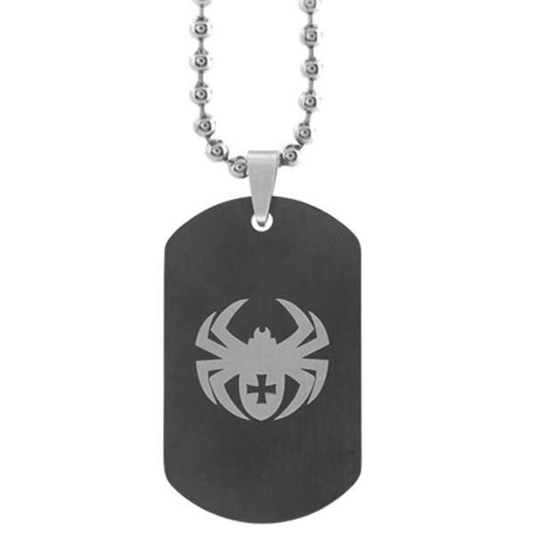 Inox Jewelry Dual Sided Spider Etching Dog Tag Pendant