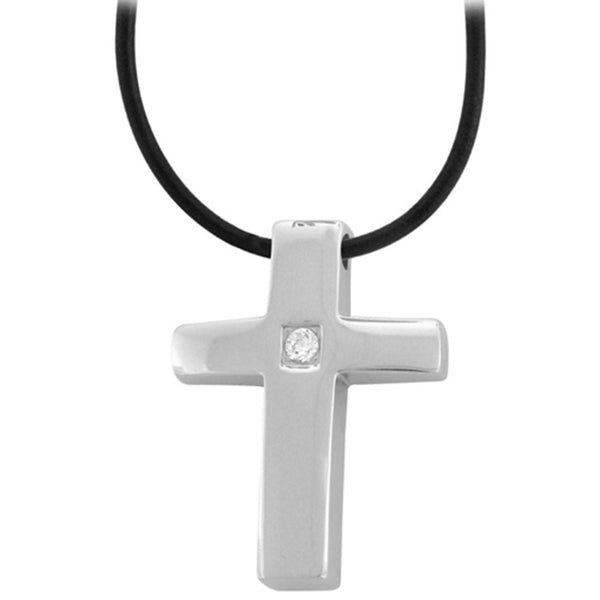 Inox Jewelry Softened Cross With Gem Center Pendant