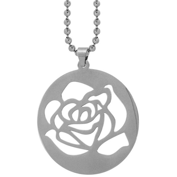 Inox Jewelry Women's Rose Flower Blossom Punch-out Pendant