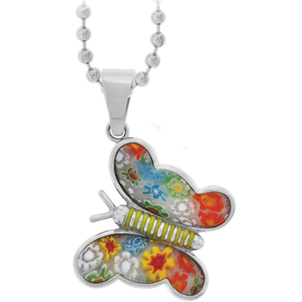 Inox Jewelry Women's Murano Glass Flower Wings Butterfly Pendant