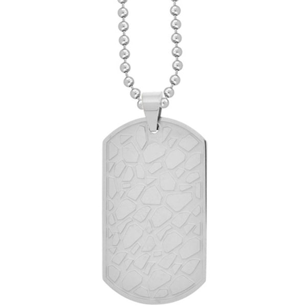 Inox Jewelry Pebble Inlay Peaceful Dog Tag Pendant