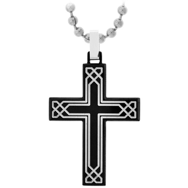 Inox Jewelry Obsidian Celtic Cross Pendant
