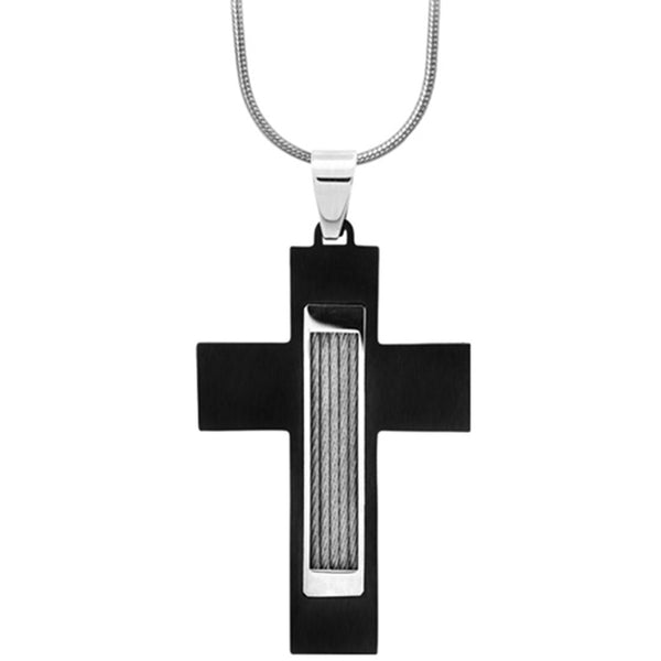 Inox Jewelry Black Cabled Cross Pendant