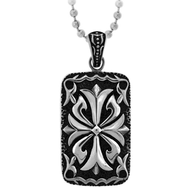 Inox Jewelry Floriated Cross Tablet Pendant