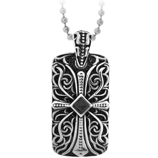 Inox Jewelry Gothic Vines Cross Tablet Pendant