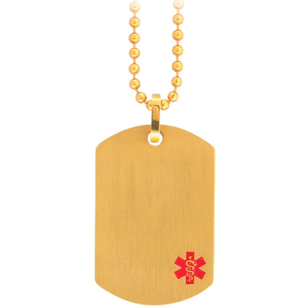 Inox Jewelry Women's Gold Tone Medical Dog Tag Pendant