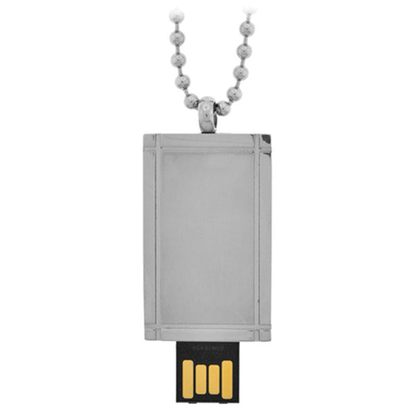 Inox Jewelry Silver Tone Box USB Pendant Necklace