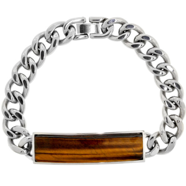Inox Jewelry ID Tiger Eye Stone 316L Stainless Steel Bracelet