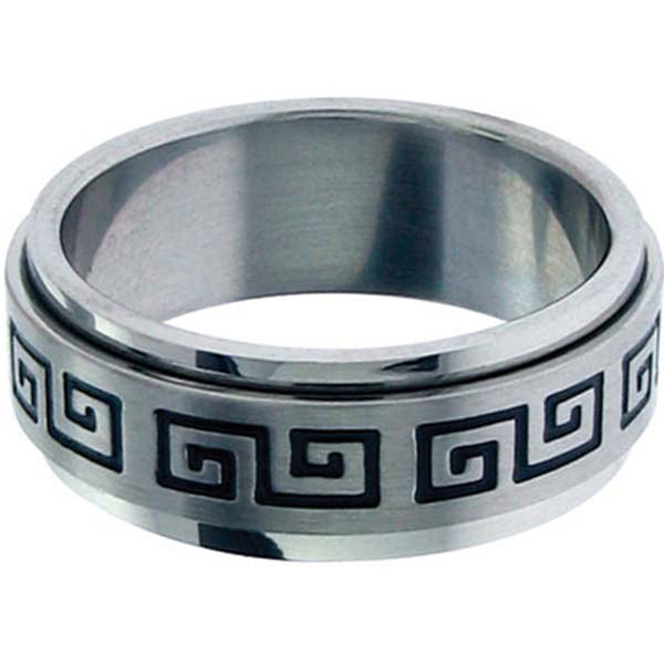 Inox Jewelry Greek Key 316L Stainless Steel Spin Ring