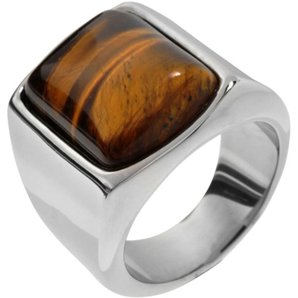 Inox Jewelry Men's Tiger Eye Stone 316L Stainless Steel Ring