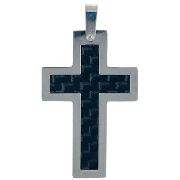Inox Jewelry Jet Carbon Fiber Cross 316L Stainless Steel Pendant