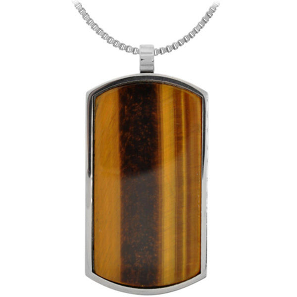 Inox Jewelry Dog Tag Tiger Eye 316L Stainless Steel Pendant