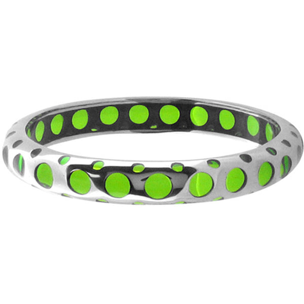 Inox Jewelry Green Resin 316L Stainless Steel Bangle Bracelet