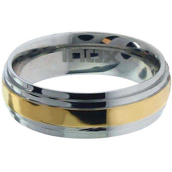 Size 10 - Inox Jewelry Two Tone Gold PVD 316L Stainless Steel Ring