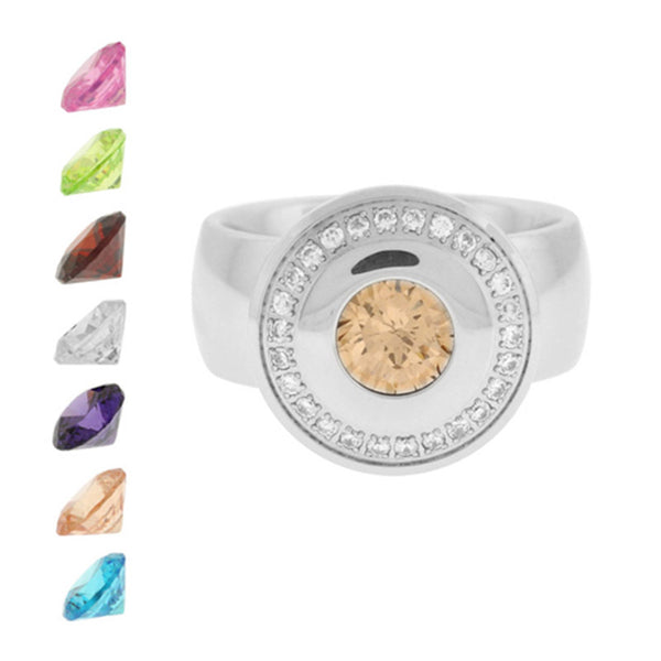 Size 6 - Inox Jewelry Women's Interchangeable Gem 316L Stainless Steel Ring