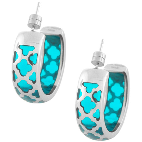 Inox Jewelry Women's Aqua Resin 316L Stainless Steel Hoop Earrings