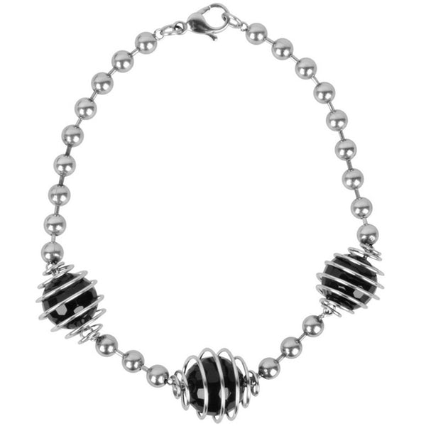 INOX Jewelry 316L Stainless Steel Black Bead Bracelet