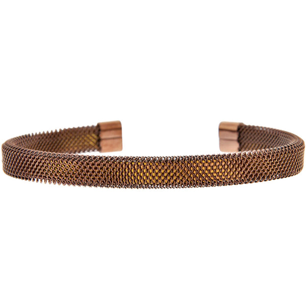INOX Jewelry 316L Stainless Steel Mesh Copper Plated Bracelet
