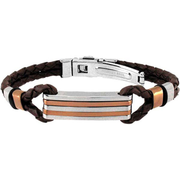 INOX Jewelry 316L Stainless Steel Brown Leather Bracelet