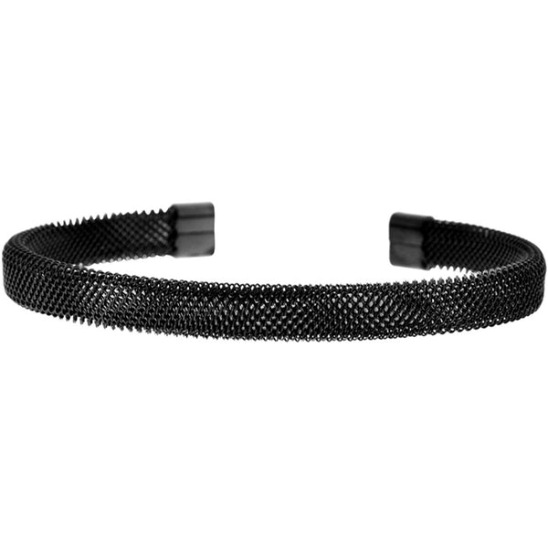 INOX Jewelry 316L Stainless Steel Mesh Black Plated Bracelet