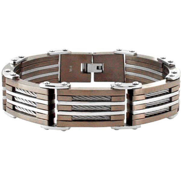 INOX Jewelry 316L Stainless Steel Cappuccino Plated Cable Link Bracelet