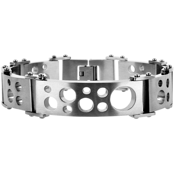 INOX Jewelry 316L Stainless Steel Cut Out Hole Bracelet