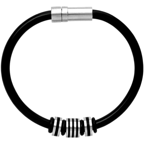 INOX Jewelry Black Rubber Stripes 316L Stainless Steel Bracelet