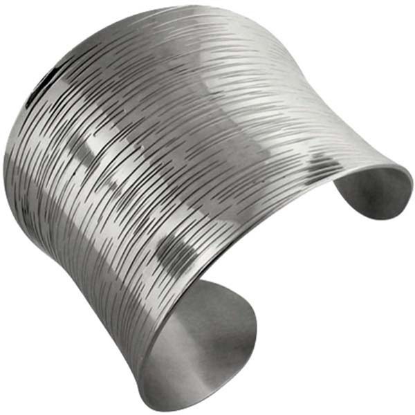 INOX Jewelry 316L Stainless Steel Etched Cuff Bracelet