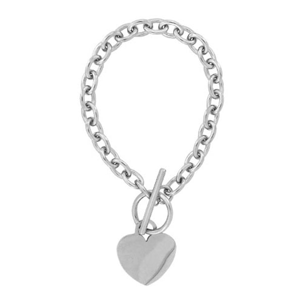 Inox Jewelry Women's Stainless Steel Heart Charm Bracelet with Toggle Latch