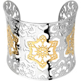 INOX Jewelry 316L Stainless Steel Wide Flower Cuff Bracelet