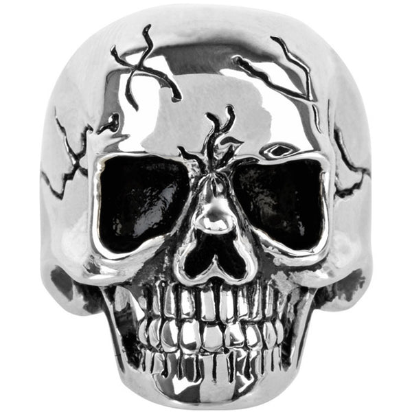 INOX Jewelry 316L Stainless Steel Black Cracked Skull Ring