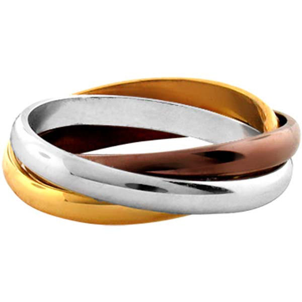 INOX Jewelry 316L Stainless Steel Cappuccino Gold Plated Band Ring