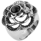 INOX Jewelry 316L Stainless Steel Raised Flower Ring