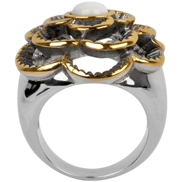 INOX Jewelry 316L Stainless Steel Gold Tone Raised Flower Ring