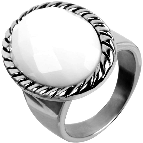 INOX Jewelry 316L Stainless Steel White Agate Stone Cocktail Ring