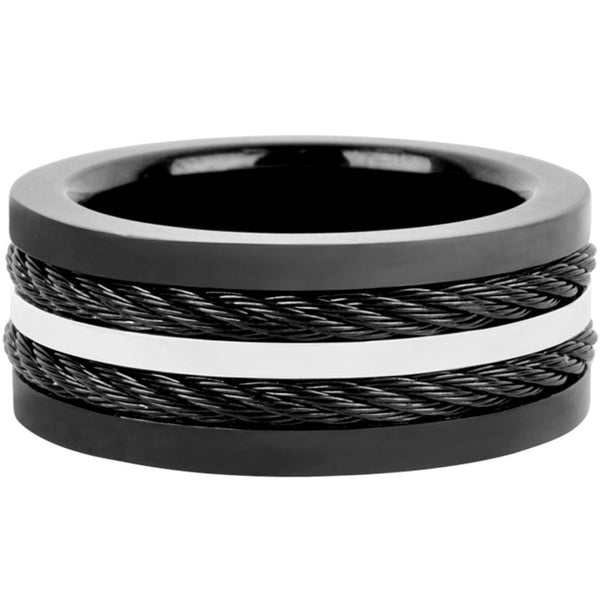 Inox Jewelry 316L Stainless Steel Black Plated Cable Ring