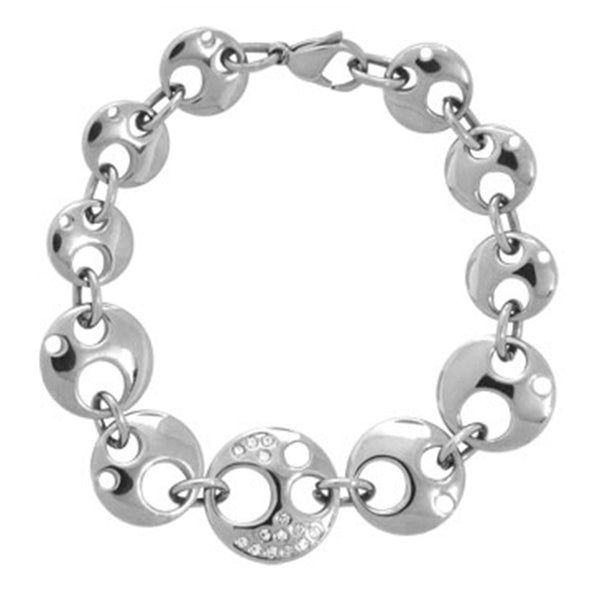 Inox Jewelry Women's Stainless Steel Moon Bracelet with CZ's
