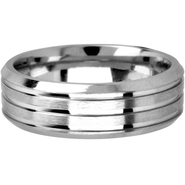 INOX Jewelry Cobalt Chrome Triple Grooved Polished Ring