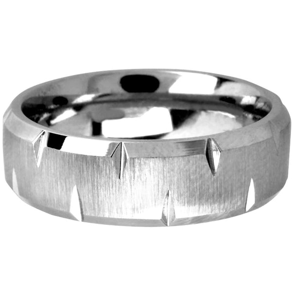 INOX Jewelry Cobalt Chrome Grooved Polished Ring